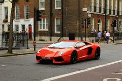 Red Lamborghini on London streets Stock Images