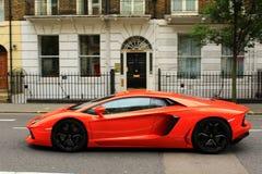 Red Lamborghini on London streets Royalty Free Stock Photo