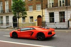Red Lamborghini on London streets Royalty Free Stock Image
