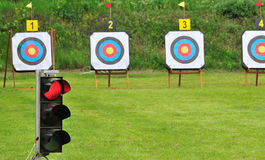 Red lamp and archery targets Royalty Free Stock Photos