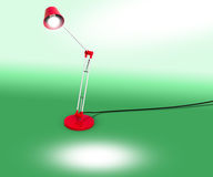 Red Lamp with Copy Space on green Royalty Free Stock Photography