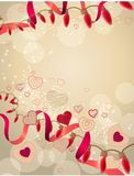 Red lamp festive garland. With hearts on light background Royalty Free Stock Photography