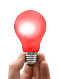 Red lamp in hand Royalty Free Stock Photos