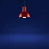 Red lamp illuminating. 3d render of red lamp illuminating on blue background Stock Photos