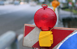 Red lamp to signal roadworks Royalty Free Stock Images