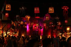 Red Lampion. Decoration in Night Food Event royalty free stock images
