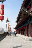 Wall of Xian, red lampions, pagodas Royalty Free Stock Images