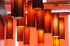 Red lamps background. Red lamps in the hotel Stock Images