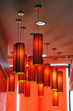 Red lamps background. Red lamps in the hotel Royalty Free Stock Image