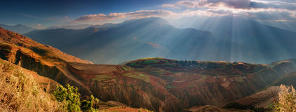 Red Land. Eastern Yunnan, China alpine mountain scenery of farmland Royalty Free Stock Photos
