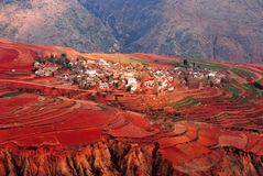 Red Land Dongchuan City, Yunnan Province, China Town scenery Royalty Free Stock Photos