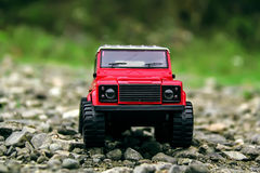 Red land rover defender Stock Photography