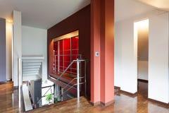Red landing stairway Stock Image