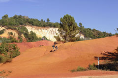 Red landscape dug by six generations of miners ocher Colorado Pr Royalty Free Stock Images