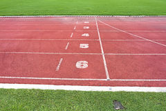 Red Lanes from a Running Track against the Green Field. Stock Images