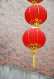 Red lantern. Chinese red lantern outside a house Royalty Free Stock Images