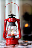 Red Lantern. Reflecting in a window on a mosaic table Stock Photo