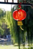 Red lantern. On the ancient garden long corridor of China Royalty Free Stock Image