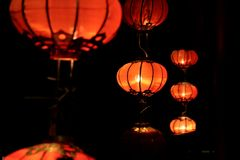 Red lantern. Illuminate in the dark Stock Image
