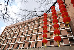 Red lantern and apartment royalty free stock image