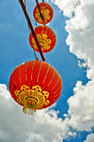 A red lantern with blue sky background. Chinese 's festival Stock Images