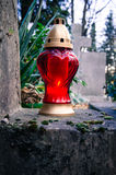 Red lantern with candle Royalty Free Stock Images