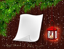 Red lantern with candle, Christmas tree branches, twigs. White scroll and brown wood background.  Vector illustration Stock Image