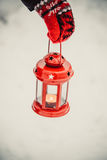 Red lantern candle in hand Stock Photography