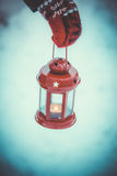 Red lantern candle in hand Royalty Free Stock Photography