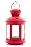 Red lantern with candle inside Royalty Free Stock Photography