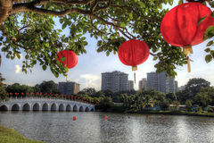 Red Lantern in Chinese Garden Stock Photo