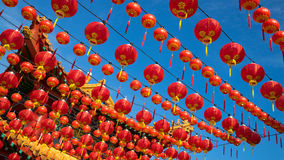 Red lantern during Chinese New Year. Red lantern and blue sky during Chinese New Year in Kuala Lumpur, Malaysia Stock Images