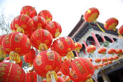 Red lantern in chinese temple Stock Images
