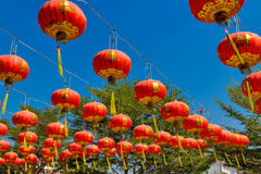 Red lantern in chinese temple Stock Photo
