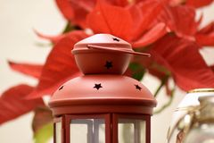Red lantern in christmas background royalty free stock image