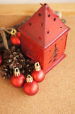 Red lantern and christmas balls Stock Photo