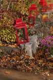 Red Lantern In Fall 2. Red Lanterns In Fall with leaves in walkway and foliage. Arrangement staggered along the sidewalk stock photos
