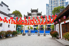 The red lantern and folk houses Royalty Free Stock Images