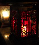 Red lantern on a grave at night. royalty free stock photos