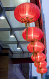 Red lantern hang. Red Chinese lantern hanging in the gate top  as spring festival is coming Stock Photography