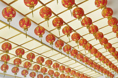 Red Lantern hang on ceiling Stock Photography
