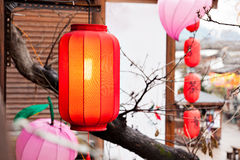 Red lantern hang on the roof Stock Photos