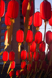 Red lantern is hanging highly Royalty Free Stock Photography
