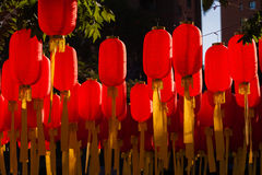 Red lantern is hanging highly Stock Images