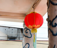 Red lantern hanging in old temple Stock Photography