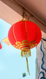 Red lantern hanging in old temple Stock Photos