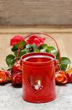 Red lantern with heart shape. Valentines day Stock Photos