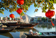 Red Lantern in Hoi An, Vietnam. Hoi An is located on the coast of the South China Sea. Is recognised as a World Heritage Site by UNESCO. Market at night with a Stock Photos