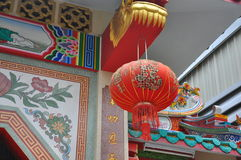 Red lantern infront of Chinese shrine Stock Photo