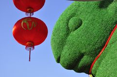 Red lantern and rabbit Stock Images
